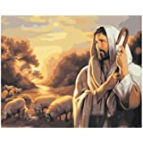 Wowdecor Paint by Numbers Canvas Kits for Adults Beginner Kids, DIY Acrylic Number Painting - Jesus Sunset Flock Scenery 16x20 inch - Wall Art Digital Oil Painting Home Decor Christmas Gifts (Frameless)