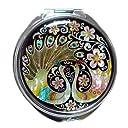 螺鈿細工 2倍率の拡大鏡付き メタル 丸型 クジャク 両面コンパクトミラー