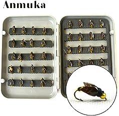 Anmuka フライフィッシング用フライセット ニンフセット 40点セット ケース付き