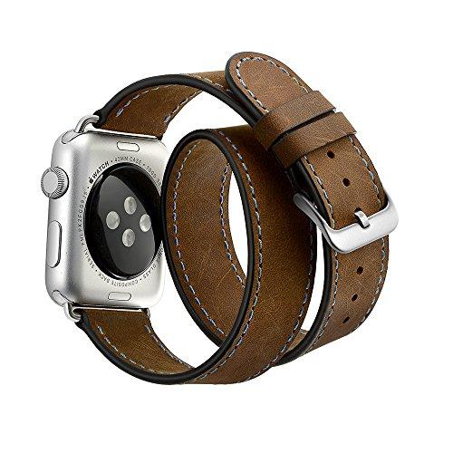 EloBeth Apple Watch バンド ドゥブルトゥール本革ベルトレザー スマートウォッチ for Apple Watch 38mm用 42mm用 アップルウォッチ用 交換バンド Apple Watch Series 3 Single Tour 時計バンド 腕時計ストラップ(42mm,ダークブラウン)