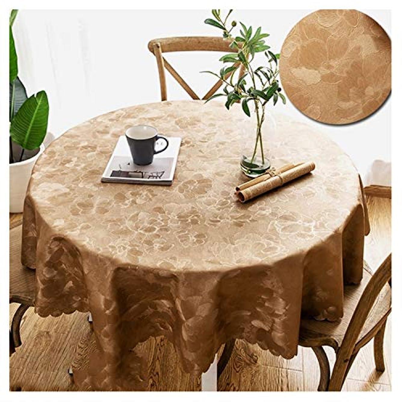 例構成員召集する円形テーブルクロス ホテルカウンターの世帯のためのオイル防止のテーブルクロスの革の反スケーリングの防水PUのテーブルマットの円形のパッド。 (Color : Brown, Size : Diameter 180cm)
