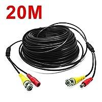 Kabalo 20m BNC Cable for CCTV Camera DVR Video Power Security Surveillance Black