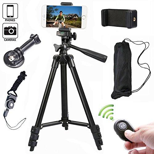 アルミニウム スマホ三脚 106センチ カメラ 三脚 スマホ対応 iPhone AndroidとIOS通用スマホホルダー Bluetoothリモコン付き (ブラック)