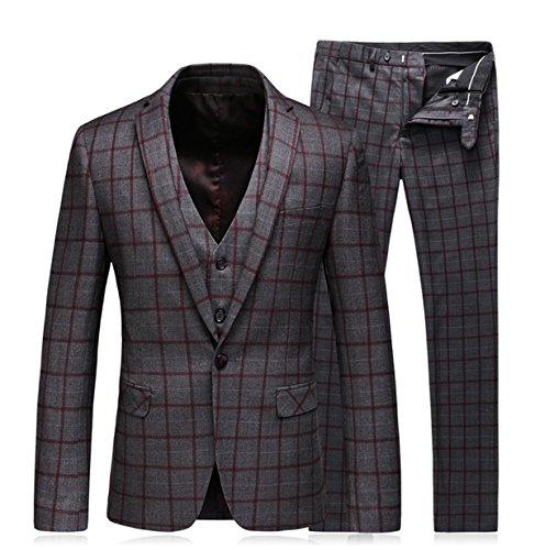 e1fffa456dd87 WEEN CHARM メンズ スーツセットアップ3ピーススリムビジネス結婚式チェック柄紺色XS   M   L   XL   2XL S  ダークグレー01