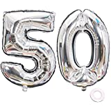 Jurxy シルバー 数字 50 バルーン 大型 ホイル マイラー バルーン 40インチ 巨大 ジャンボ 数字 バルーン 誕生日パーティー デコレーション