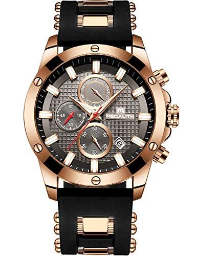 94f560fefd [メガリス]MEGALITH 腕時計 メンズ時計ブラック クロノグラフ防水ウオッチルミナス夜光 多針
