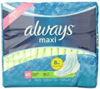 Always Maxi Unscented Pads with Wings, Long/Super, 45 Count by Always