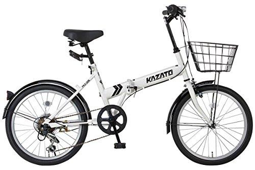 【カゴ・フロントライト・ワイヤー錠SET】KAZATO(カザト)FKZ-206 折り畳み自転車 折りたたみ 折りたたみ自転車 20インチ シマノ製6段変速 ホワイト 前後フェンダー