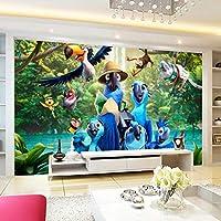 Xueshao 写真の壁画の壁紙3D漫画の青いオウムのポスター子供部屋の寝室の背景の壁不織布の壁紙-200X140Cm