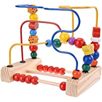 Denshine 木製ビーズ 迷路 ローラーコースター 初めてのビーズ 迷路 木製 マニキュラティブ玩具 幼児用 カラフル 知育玩具 アバカスビーズ 円周 ビーズ 木製玩具 - 米国運送