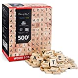 500 Pcs Wood Letter Tiles, Magicfly Wooden Scrabble Tiles, A-Z Capital Letters for Crafts, Spelling,Scrabble Crossword Game