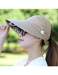 IAIZI 女性の折りたたみ式サン帽子、夏カジュアルサンプロテクションロング帽子の寝袋空のトップハット (色 : カーキ)