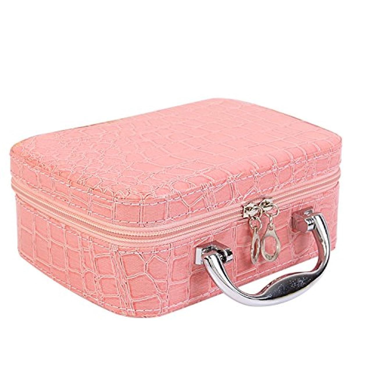 胆嚢敏感なアパートゴシレ Gosear PU レザー 化粧品 メイク ボックス ケース 化粧品 ハンドバッグ ミラー クロコダイル パターン ピンク