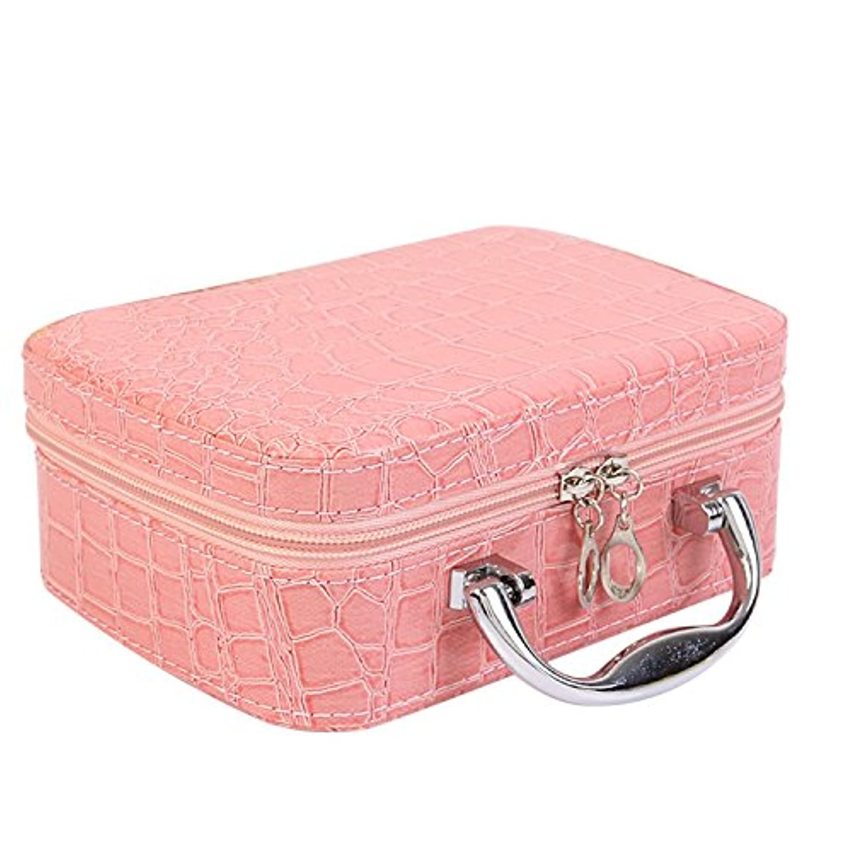 内陸適用済みよろめくゴシレ Gosear PU レザー 化粧品 メイク ボックス ケース 化粧品 ハンドバッグ ミラー クロコダイル パターン ピンク