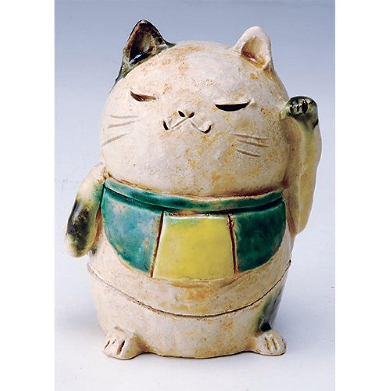 香炉 白萩 招き猫(人)香炉(大) [H11cm] HANDMADE プレゼント ギフト 和食器 かわいい インテリア