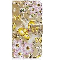 Huawei Honor 9 レザー 財布 シェル 〜と 財布型, Moonmini Huawei Honor 9 フリップ カバー, 財布型, スキン シェル (Golden Butterfly)