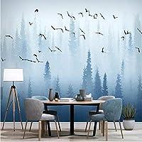 Weaeo ヨーロッパのパインウッドPinetum Pineryブルーバード写真の壁紙居間の壁画Tvの壁の装飾カスタムサイズホームの改善-450X300Cm