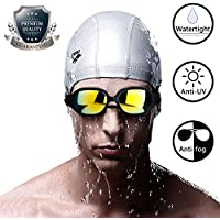 Innens Swim Goggles、Wide and Clear Viewアンチフォグ漏れしませんのUV保護水泳ゴーグルメンズレディース大人用Young Swimmer With 3 Sizes of Nose Bridge ブラック SG