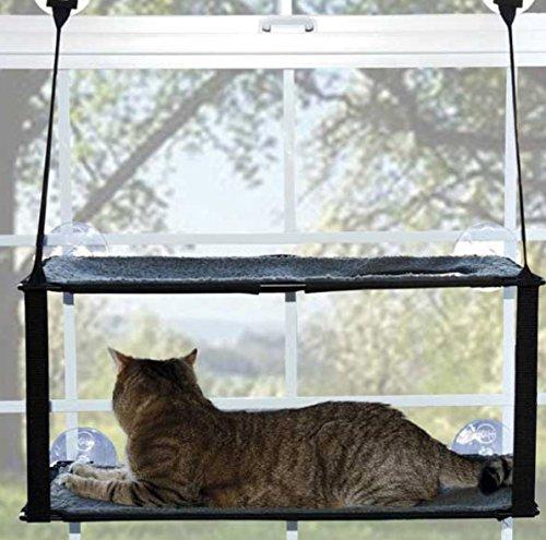 PET LALA(ペットララ)猫 ハンモック ベッド 通年用 2段 大型 タイプ 窓 取り付け 強力吸盤式 取外し簡単 最大 耐荷重 20kg 日向ぼっこ 昼寝 国内正規販売店 当店専用 安心保証付き (ブラウン/ボア生地)