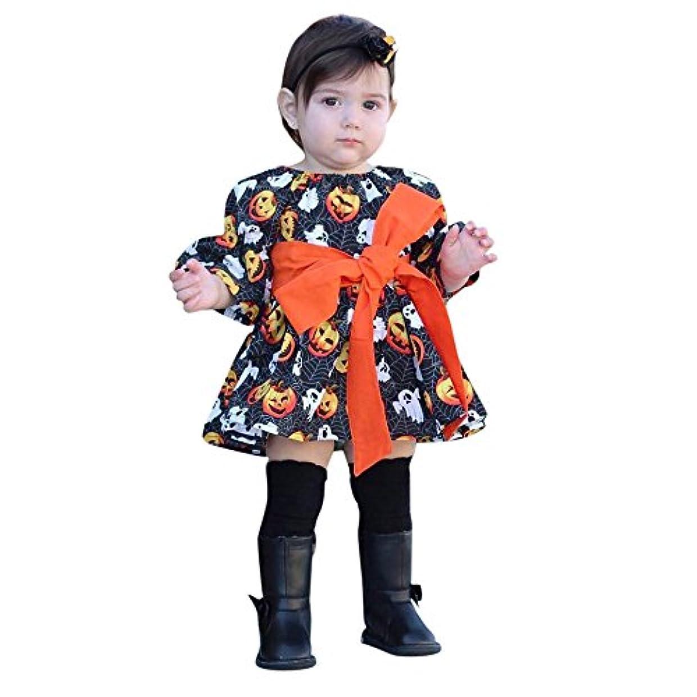 長椅子偏心悲しみ(プタス) Putars 幼児ガールズプリントカボチャのゴーストドレスハロウィーンの装飾衣装 12ヶ月-5歳
