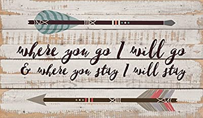 Where You Go I Will Go矢印ホワイトWash 24x 14インチソリッドパインウッドパレットWall Plaque Sign