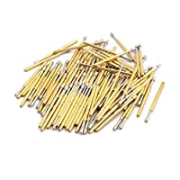 DealMux 100pcs P160-A2 1.36mm Dia 24.5mm Length Metal Spring Pressure Test Probe Needle