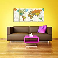 CyiohArt - 5パネル アートパネル 「超クリア世界地図」 壁掛け 風景写真の壁の写真を絵画 キャンバス絵画 ホームデコレーション用 (25cm x 60cm x 5、木枠付きの完成品)