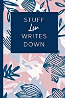 Stuff Liv Writes Down: Personalized Journal / Notebook (6 x 9 inch) STUNNING Navy Blue and Mauve Blush Pink Pattern