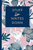 Stuff Liv Writes Down: Personalized Journal / Notebook (6 x 9 inch) STUNNING Navy Blue and Mauve Blush Pink Pattern