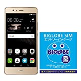 Huawei P9 LITE SIMフリースマートフォン (ゴールド)  & BIGLOBE SIM エントリーパッケージ 最大 20,000円キャッシュバック