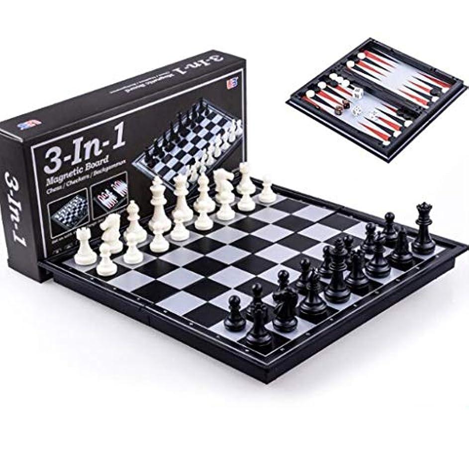 ダンス命令シンプルさチェスセッ チェス&チェッカー&バックギャモン3では1チェスラーニングセットアウトドア旅行ゲームマグネットボードを折りたたみ チェス (サイズ : S)