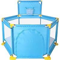 HUO 赤ちゃんのプレイペン6つの側面赤ちゃんゲームフェンス子供のガードレールの安全ゲームバッフル 省スペース (色 : 青)