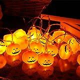 オーフォックス(Oxfox) ハロウィン クリスマス カボチャライト LEDライト イルミネーションライト カボチャ 飾り 3m 20球 電池式 パンプキンライト ジャックオーランタン 室内 屋外 生活防水 イエロー