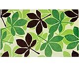 KANARIA 玄関 マット 屋内 室内 おしゃれ 滑り止め 付 / 木の 葉 リーフ 柄 50×70㎝ (グリーン)