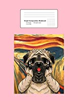 """Graph Composition Notebook: Math, Physics, Science Exercise Book - Scream Pug Funny Dog Animal Pun Painting Humor Artists Gift - Pink 5x5 Graph Paper - Back To School Gift For Kids, Teens, Boys, Girls - 7.5""""x9.75"""" 100 pages"""