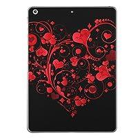 iPad Air2 スキンシール apple アップル アイパッド A1566 A1567 タブレット tablet シール ステッカー ケース 保護シール 背面 人気 単品 おしゃれ ラブリー ハート 赤 レッド 黒 ブラック 007587
