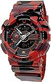SANDA 4 色 メンズ ダイバーズ ダイバー 迷彩 カモフラージュ LED ライト 多機能 腕 時計 デジタル 防水 ストップウォッチ スポーツ アウトドア (レッド)