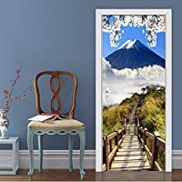 Xbwy 家の装飾3Dステレオ藤山風景ドアステッカーリビングルームダイニングルームPvc防水壁画壁紙現代ビニールステッカー-350X250Cm