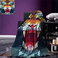 "smallbeefly Tiger Throw Blanket油絵スタイルBig Cat Purposeful Eyes CarnivoreベンガルのFeline East暖かいマイクロファイバーすべてシーズン毛布ベッドやソファブラックライトブラウン 80""x60"" fly01-maotan0424-130821C200xK150"