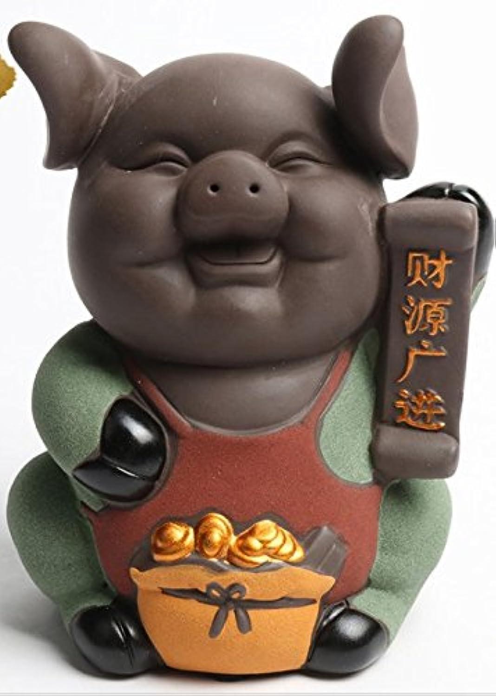 マネー バンク 豚のセラミックピギーバンク金の豚のお金の銀行の結婚式のギフト(ブラウン)