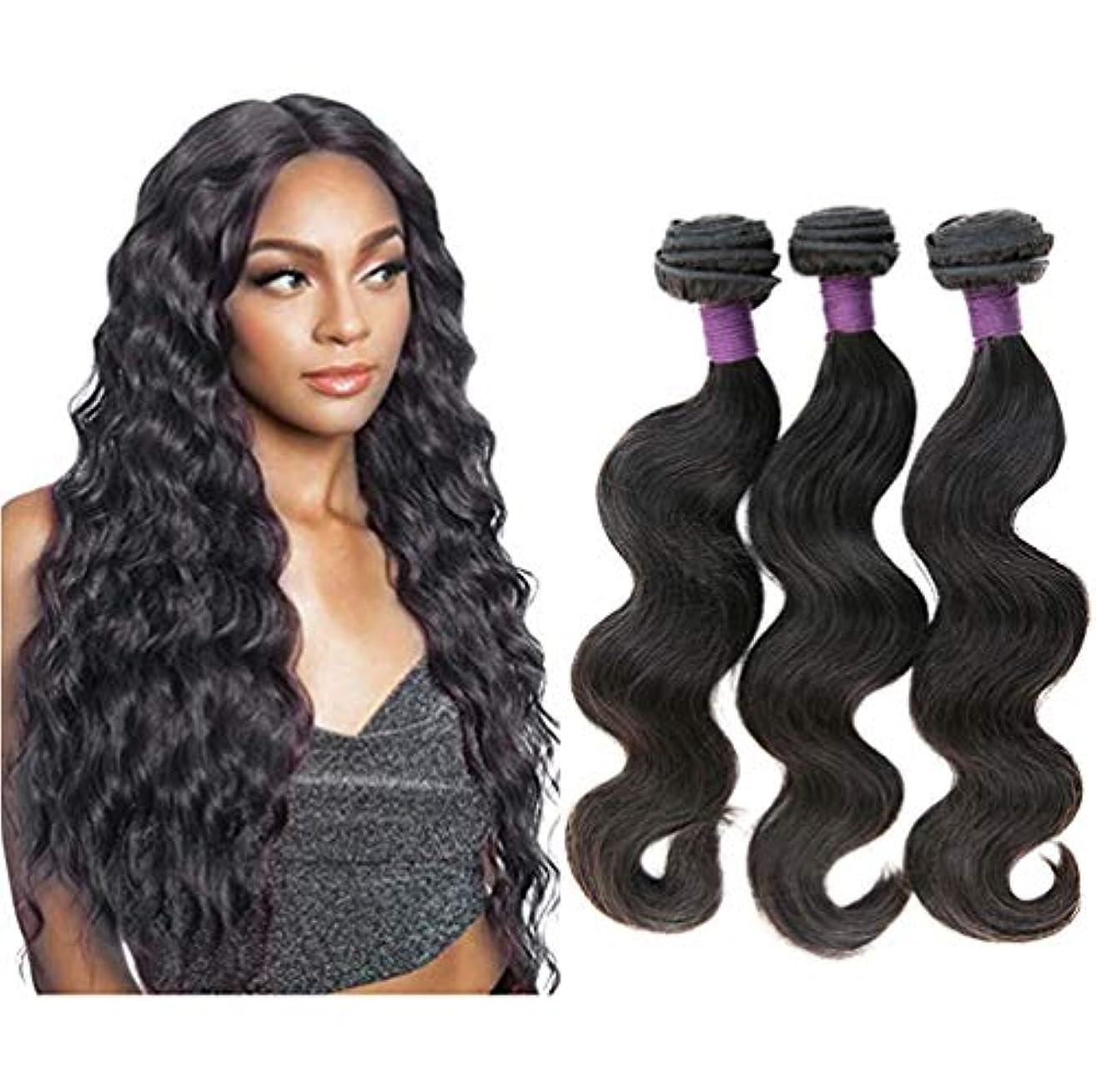 女性ブラジル髪織り体波束未処理バージンレミー本物の人間の髪の毛延長織り横糸(3バンドル)