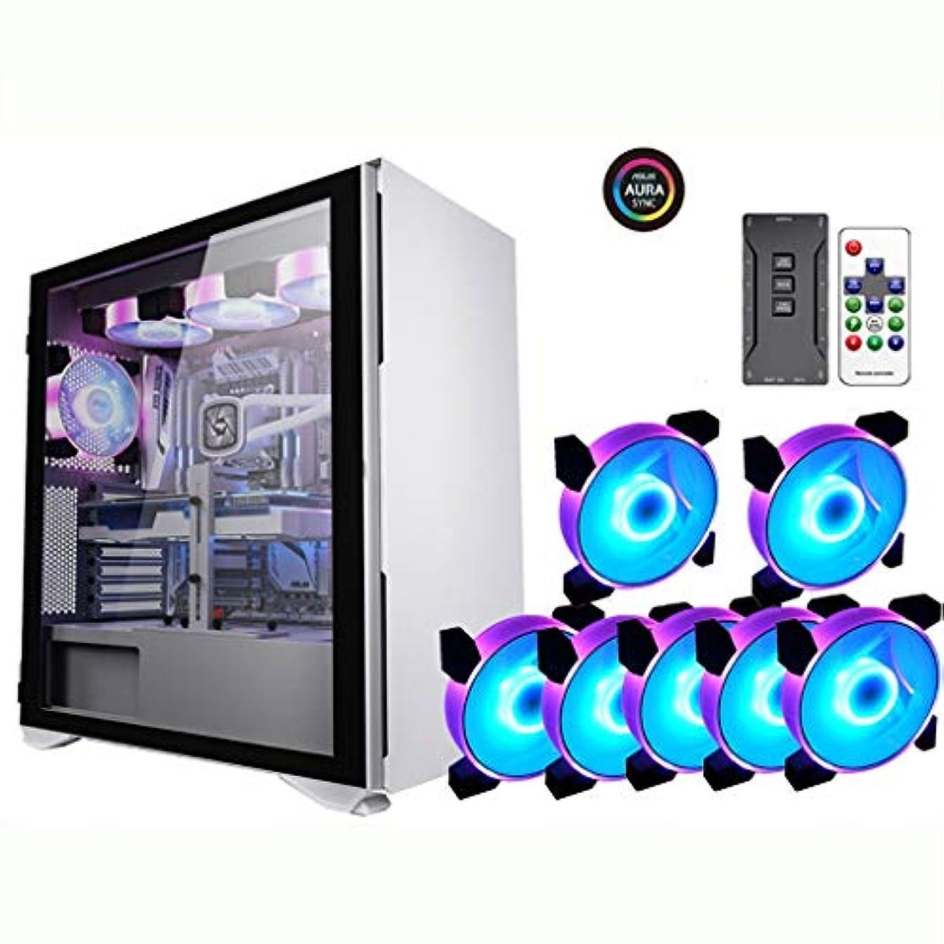 形成撤回するハリケーンゲーミングケース、ミッドタワーE-ATX/ATX/M-ATX/ITX PCゲームコンピュータケース、強化ガラスのサイドパネルは、水冷却、9つのファンのポジションをサポート (Color : Black, Size : 7 fan)