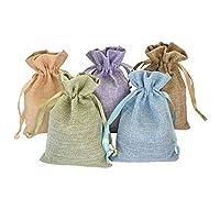 20個巾着バッグ、再利用可能なリネンギフトバッグ、Sachetポーチのギフトパッケージ、パーティーFavor、DIYクラフト、ジュエリー、スナック、4x 6インチ