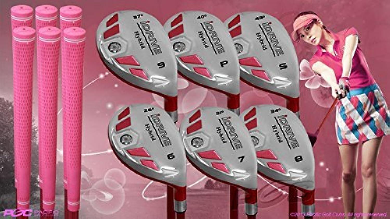 レディース用すべてiDriveゴルフクラブレディースピンクハイブリッドComplete Full Set Which Includes : # 6、7、8、9、PW + SW Lady Flex Right Handed新しいRescueユーティリティ