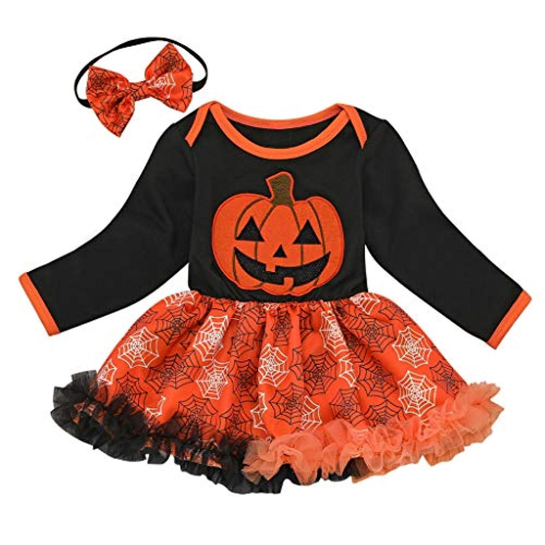 動揺させる拮抗ビンMISFIY ハロウィン 子供 ガールズ 女の子 ロンパース スカートドレス 綿 肌着 Halloween かぼちゃ かわいい 柔らかい 誕生記念 出産祝い (80)