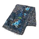 (フランコフェラーリ)FRANCO FERRARI ウール×カシミア(カシミヤ)ストール 1297SS 30378 EVANS WASH 001 BLUE [並行輸入品]