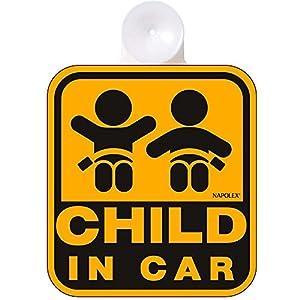 ナポレックス 傷害保険付き CHILD IN CAR セーフティーサイン 【吸盤タイプ(内貼り)】 SF-4