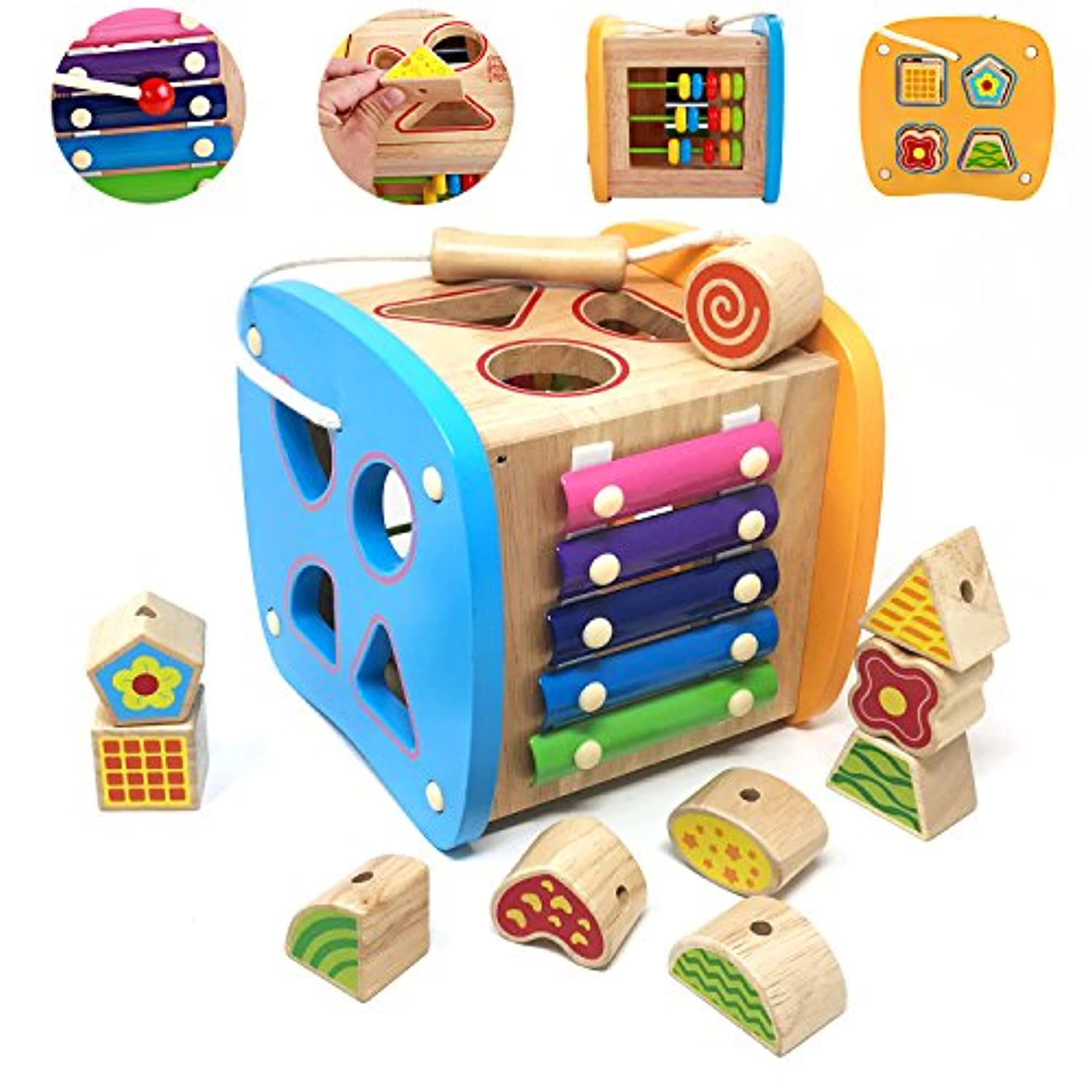 Lewo Wooden Shapes Sorter Activity Centres Lacing Beads Early Development Toys for Toddlers