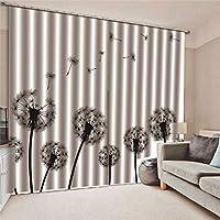 装飾カーテン-タンポポブロックカーテンアイレットトップカーテン用キッチンベッドルームホームデコレーション、150x166cm
