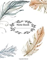 "Note Book by: Feather on the White Cover Notebook Journal Diary, 110 Dashed Lines Pages, 8.5"" X 11,"" Date on Top"